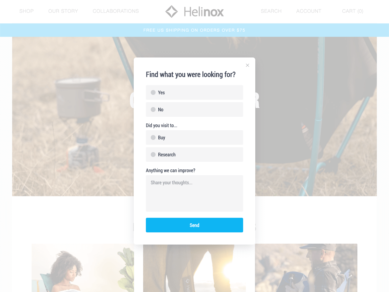 Helinox uses a survey popup to conduct marketing research in their store