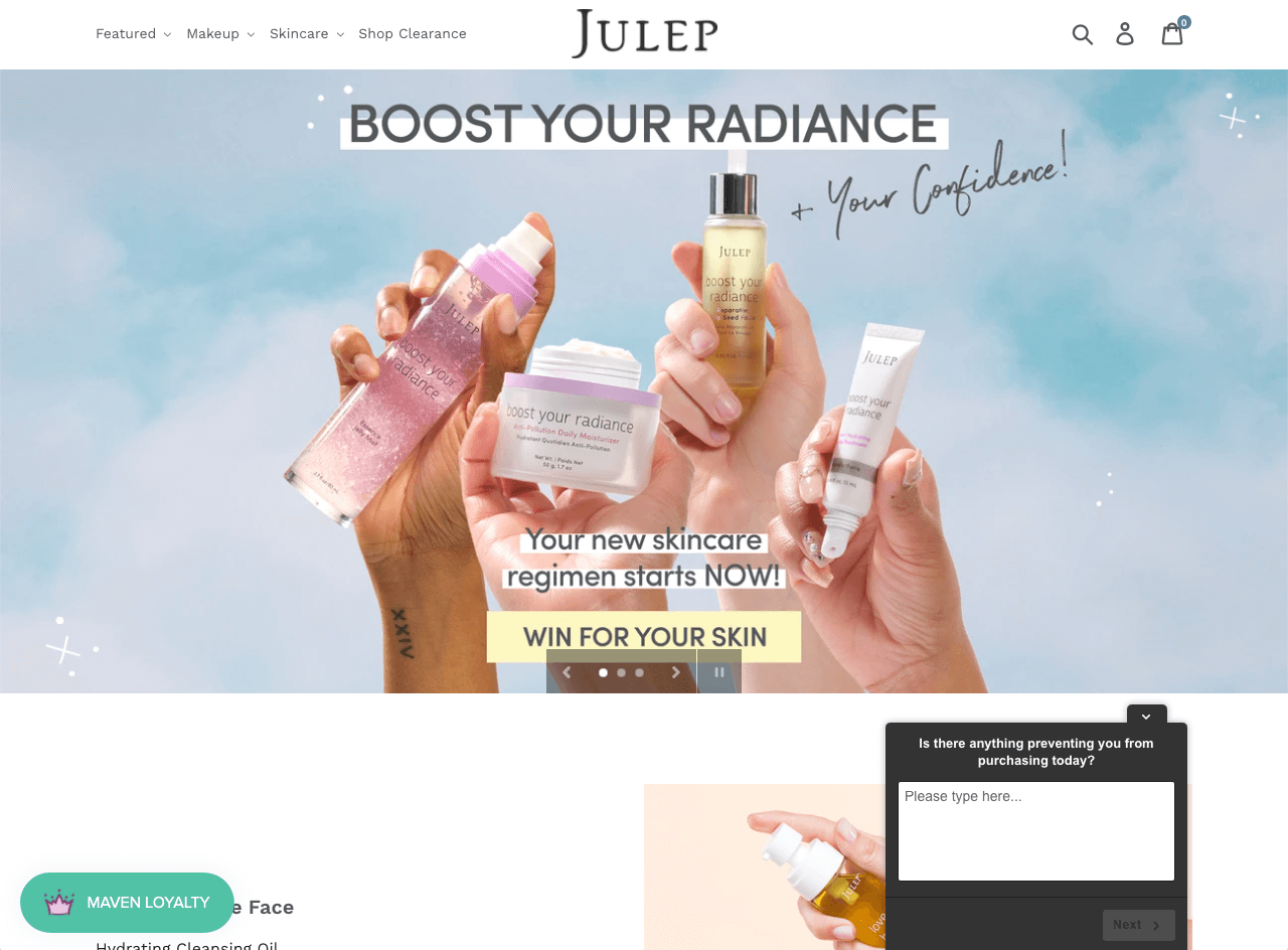 Julep displays a single-question survey slide-in to find out what prevents visitors from purchasing