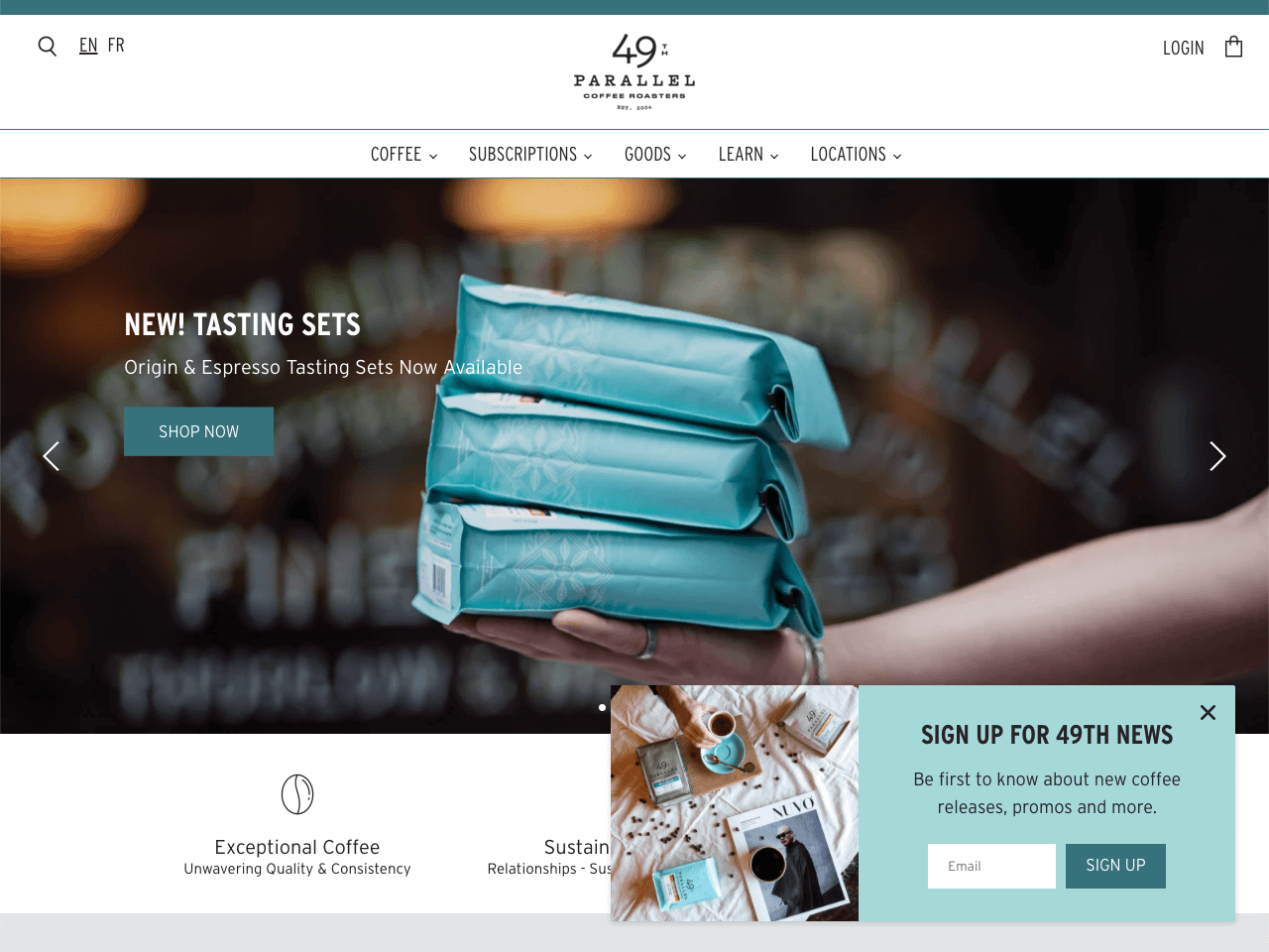 The 49th Parallel online store builds their email list using an email opt-in slide-in