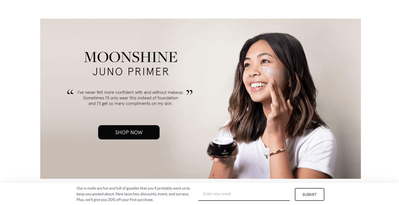 Juno placed a sticky bar to collect emails in their Shopify store