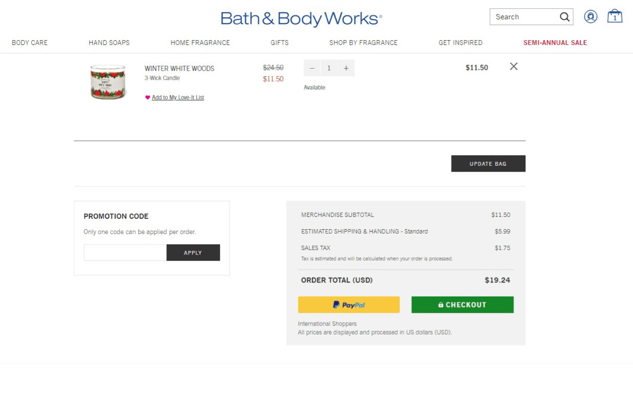 Bath & BodyWorks offers PayPal among payment options in their store
