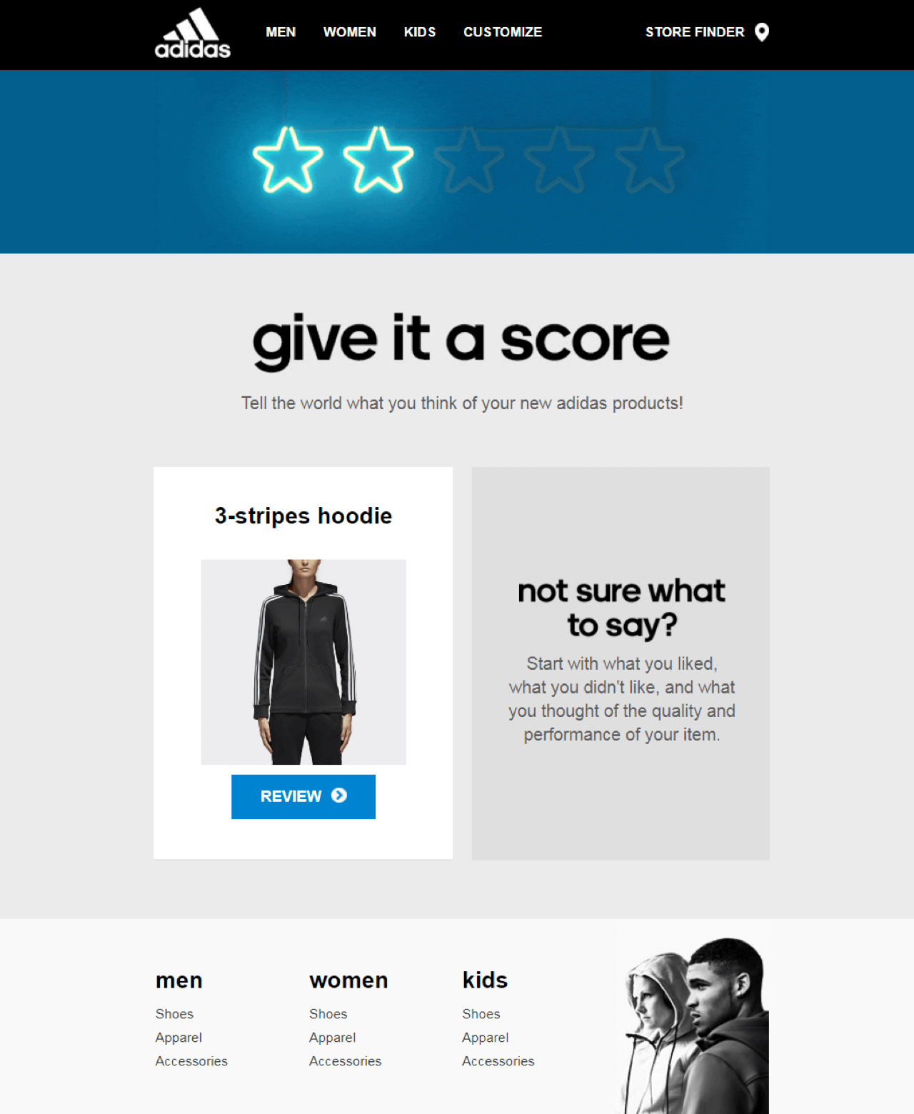Example of a post-purchase evaluation survey delivered via email by Adidas