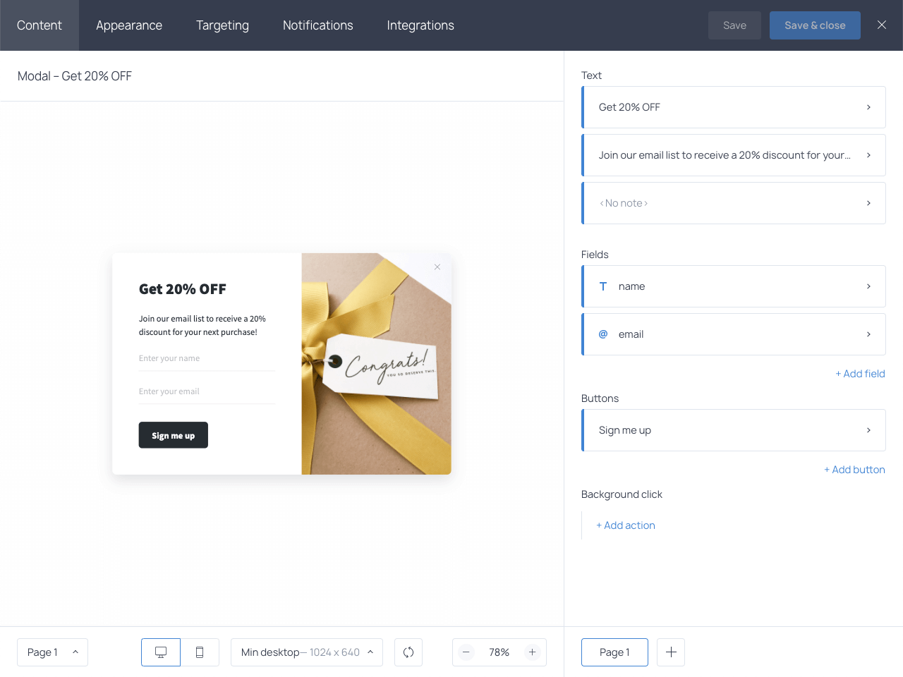 Getsitecontrol is a WordPress ecommerce plugin to help you create forms and popups