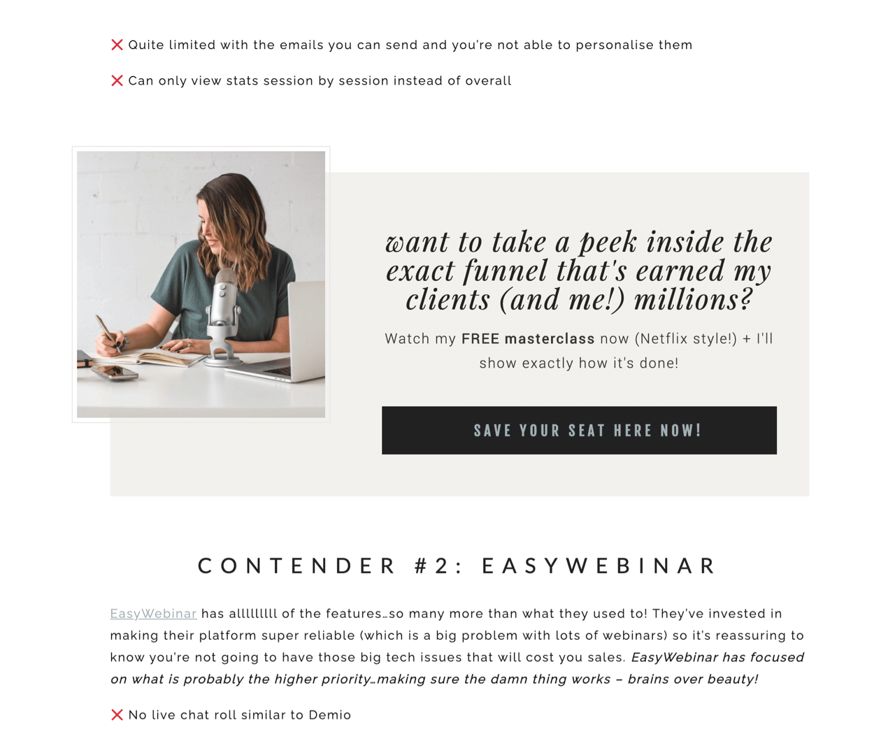 Kate McKibbin offers uses webinars as a form of a content upgrade to grow her email list