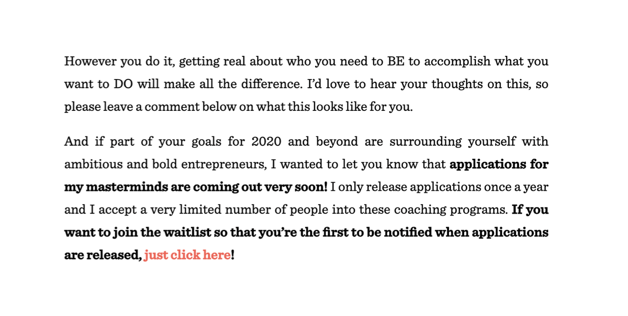 Melyssa Griffin invites her readers to join a waitlist to collect their emails