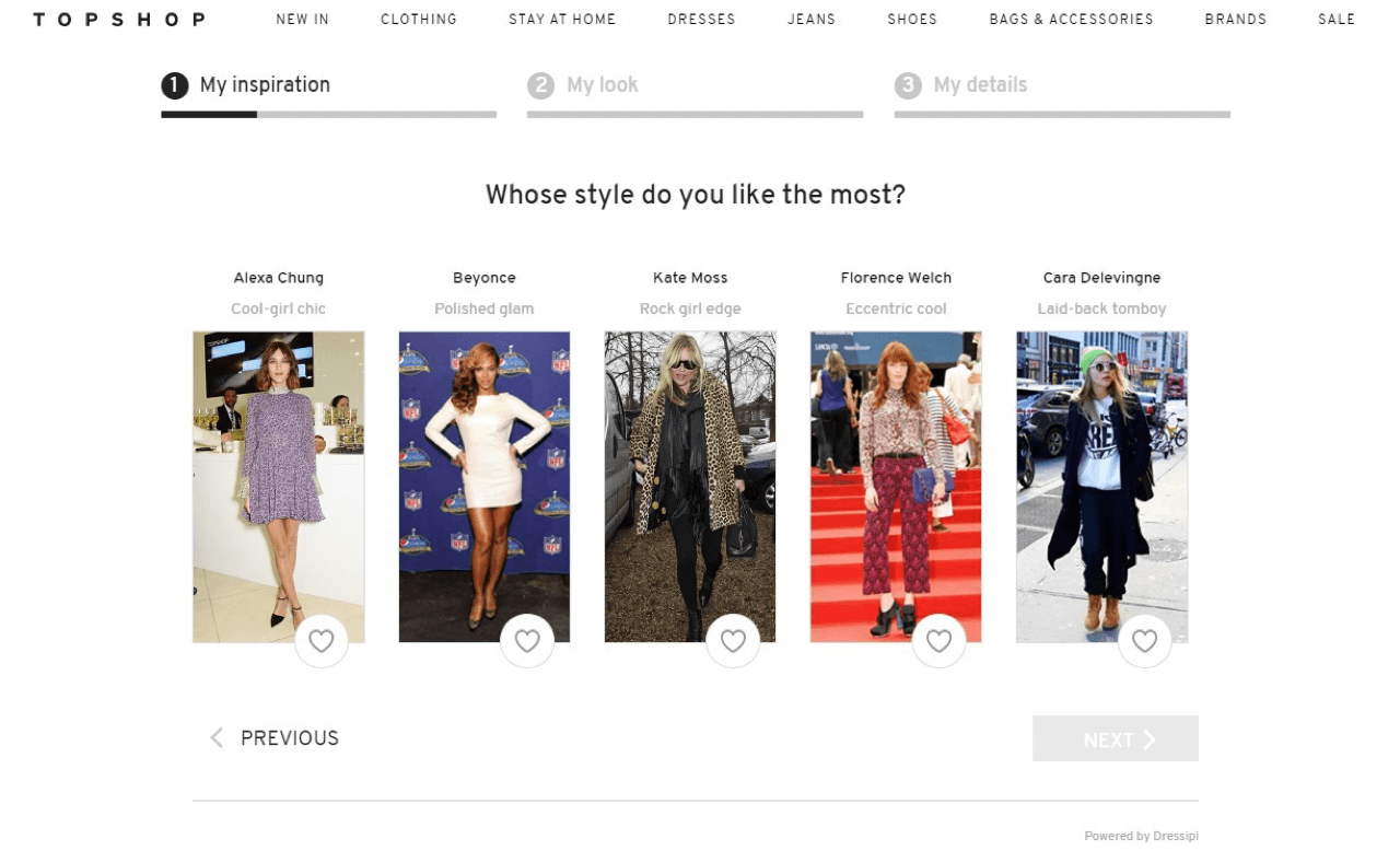 TopShop quiz utilizes their brand voice in the copy