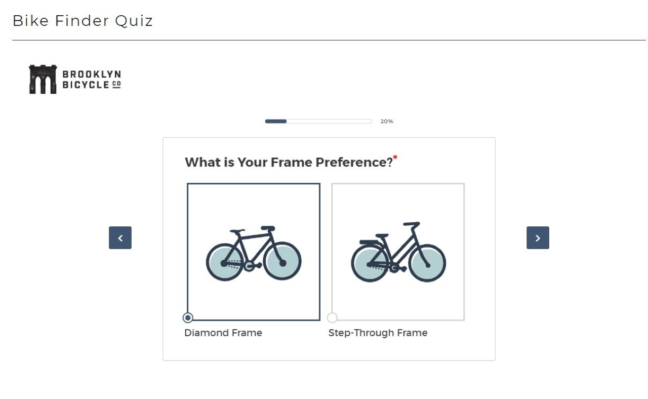 Brooklyn Bicycle uses a more formal tone for their lead quiz