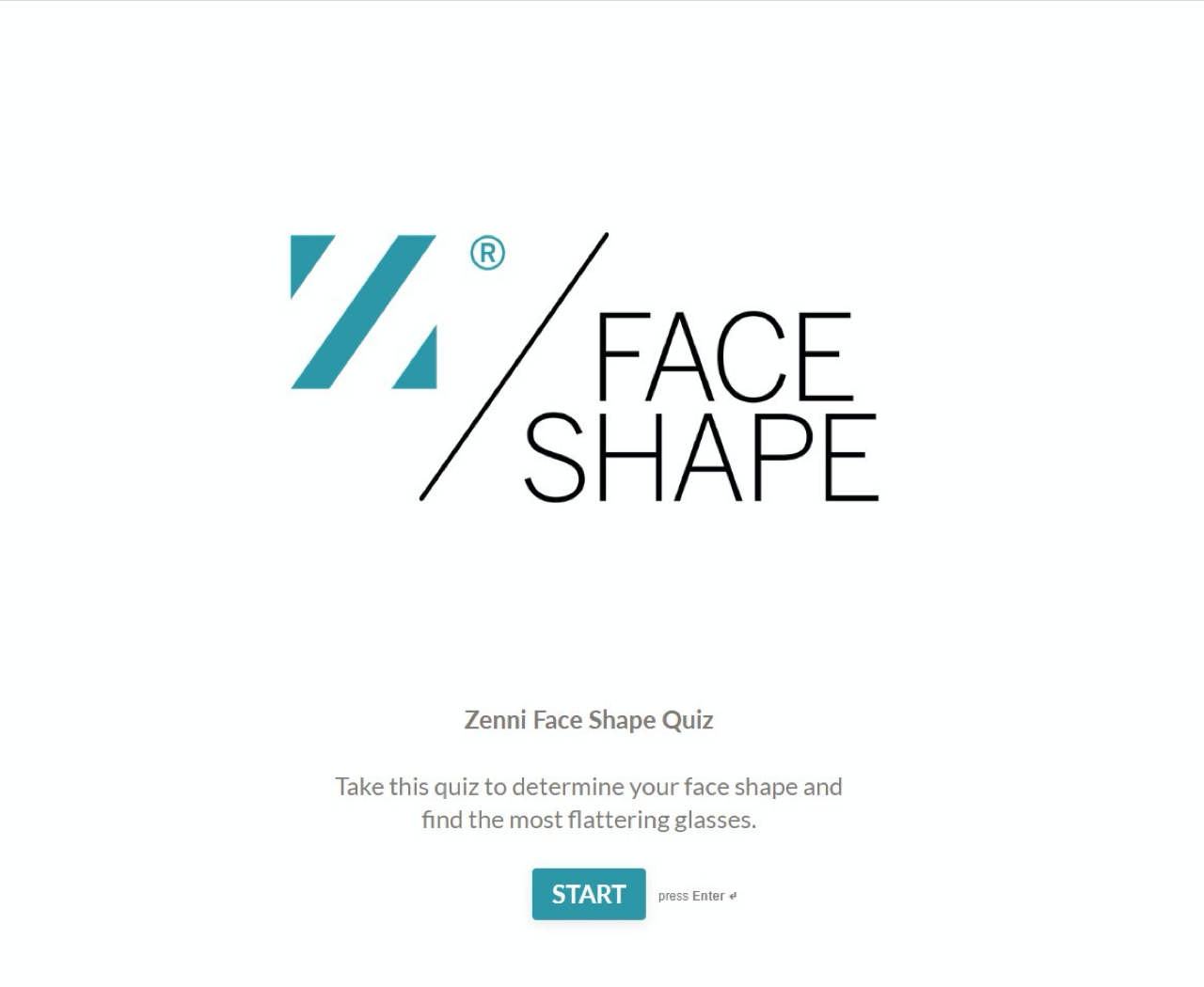 Face shape quiz start page – by Zenni Optical