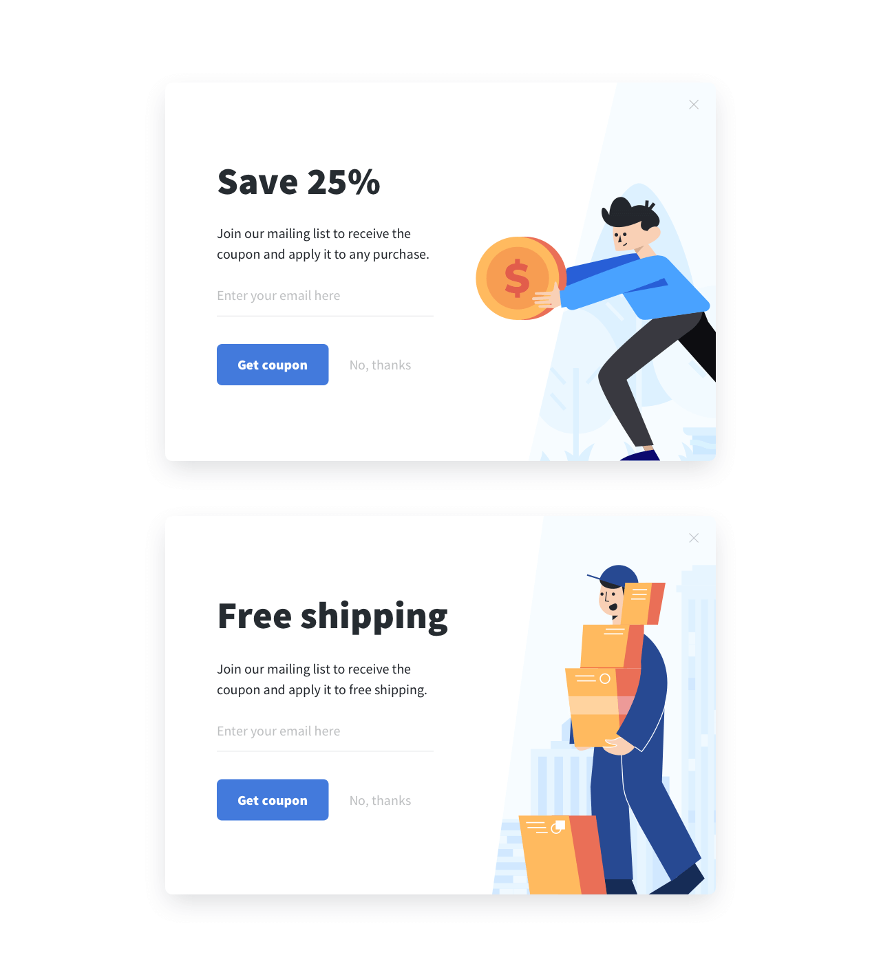 Email subscription form A/B test example