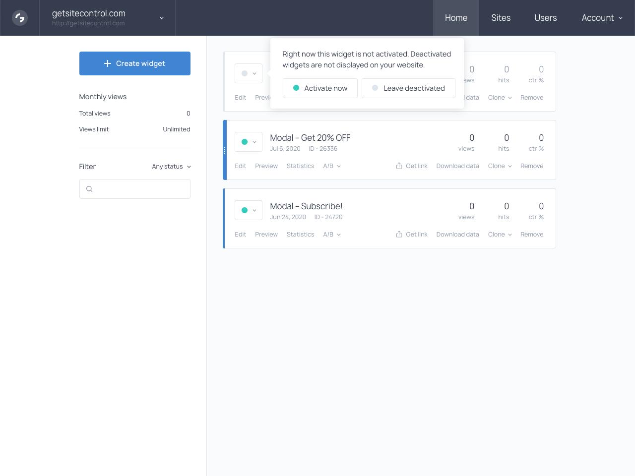 Popup activation stage in Getsitecontrol dashboard