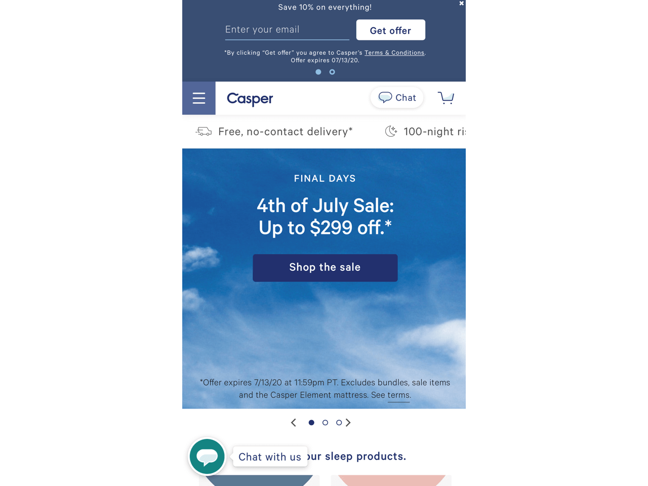Casper uses a sticky bar to collect emails on mobile