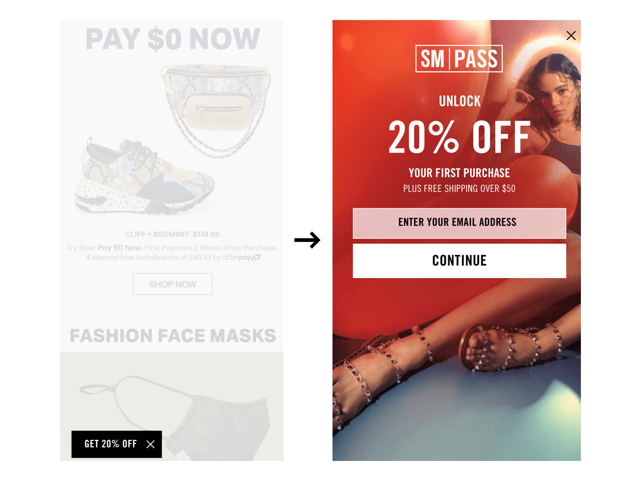 Steve Madden website includes a CTA panel that expands into a subscription form