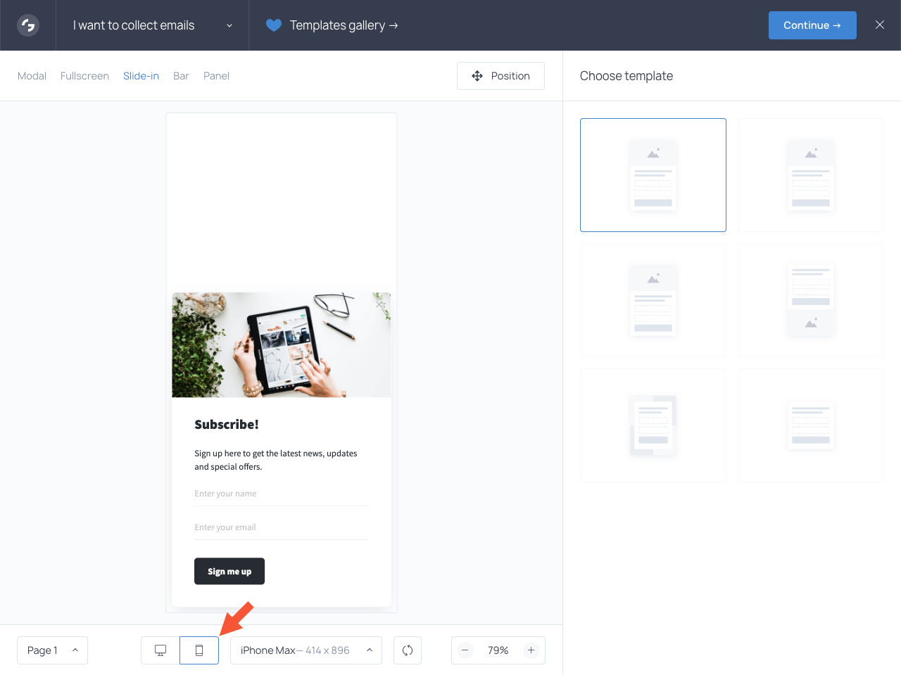 Creating a mobile-only popup in Getsitecontrol: first steps