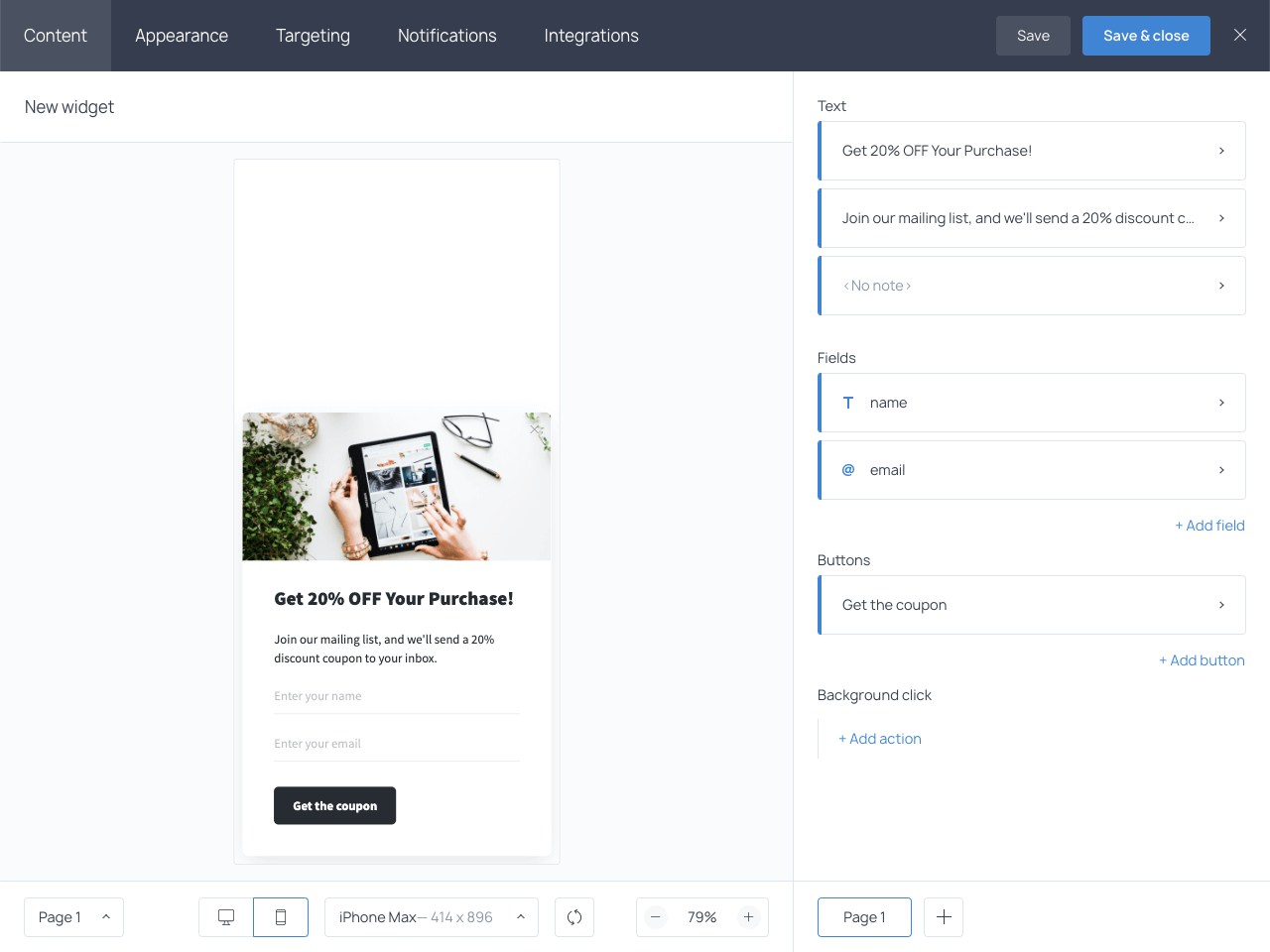 Customizing a copy for a mobile popup in Getsitecontrol