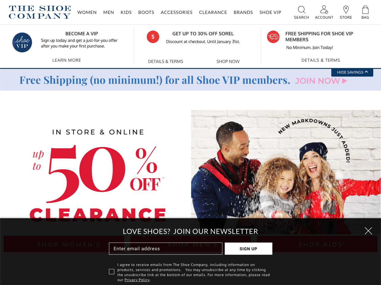 The Shoe Company features a huge email subscription bar at the bottom of the page