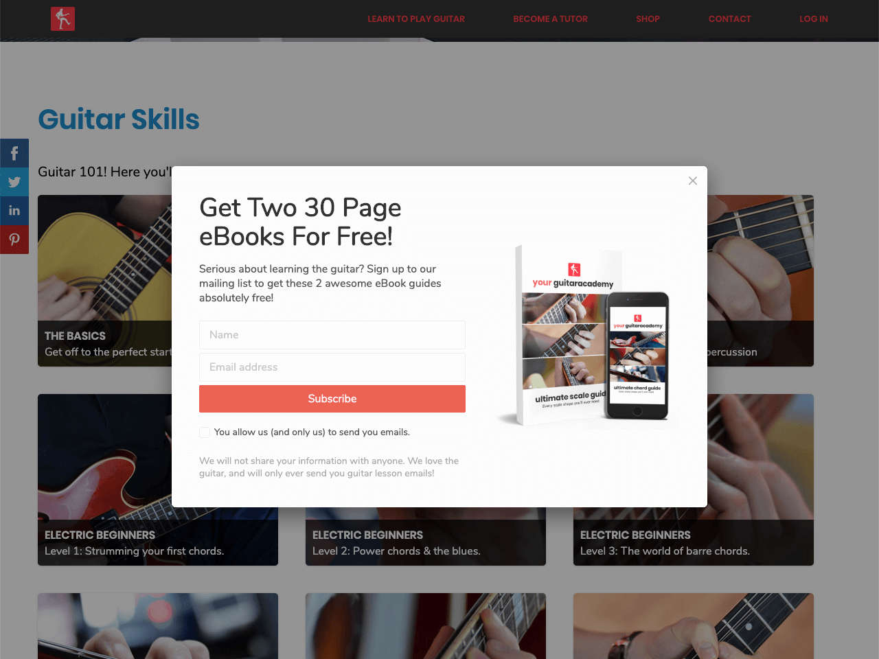 Your Guitar Academy offers two digital books on guitar lessons in exchange for an email address