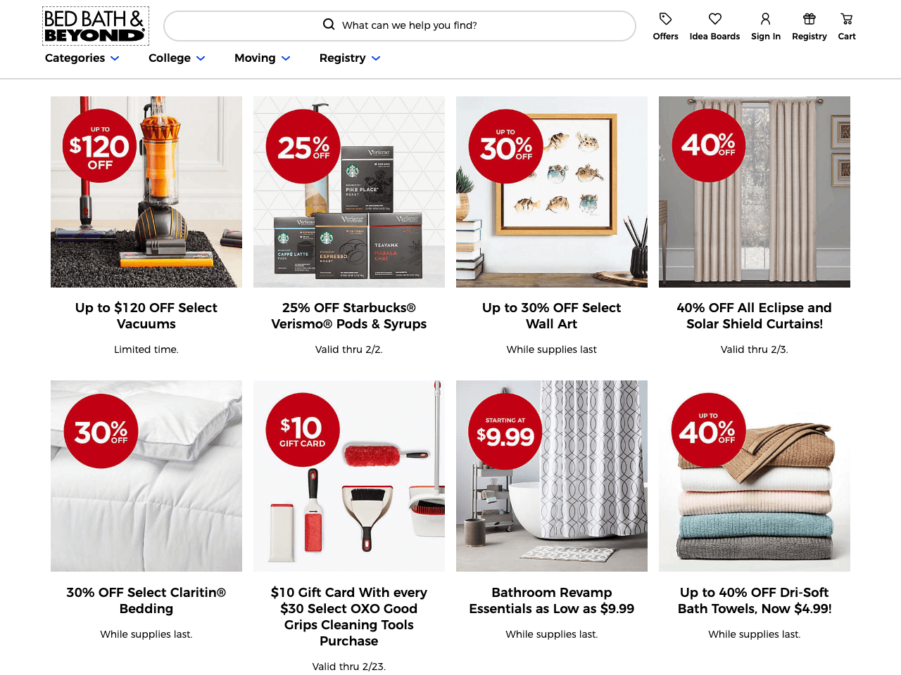 Bed Bath & Beyond showcases its limited time deals sorted into categories