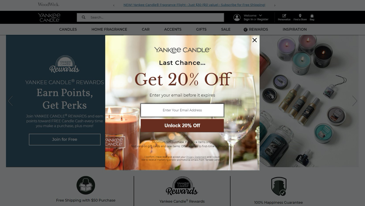 Yankee Candle uses exit-intent popup to convert abandoning visitors into subscribers
