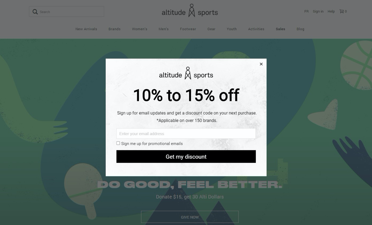 Exit-intent pop-up ad offering a discount on the Altitude Sports website