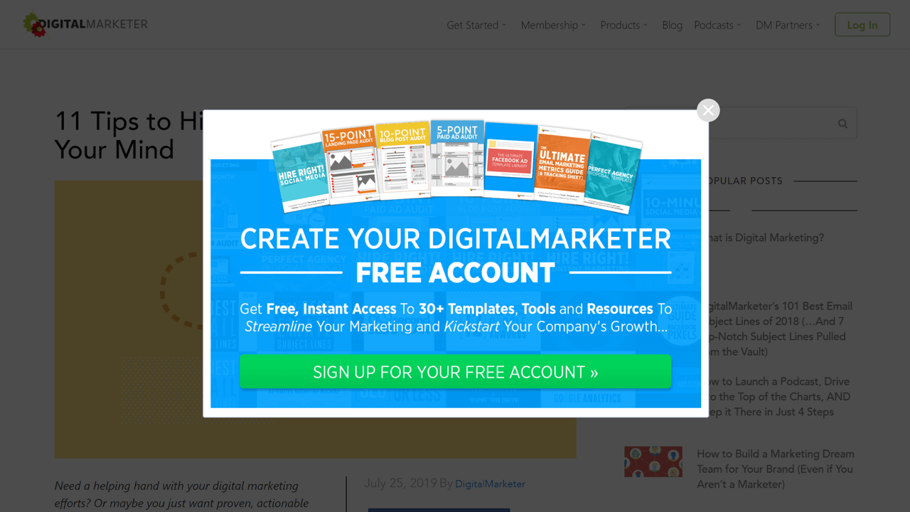 Popup that nudges visitors into creating an account