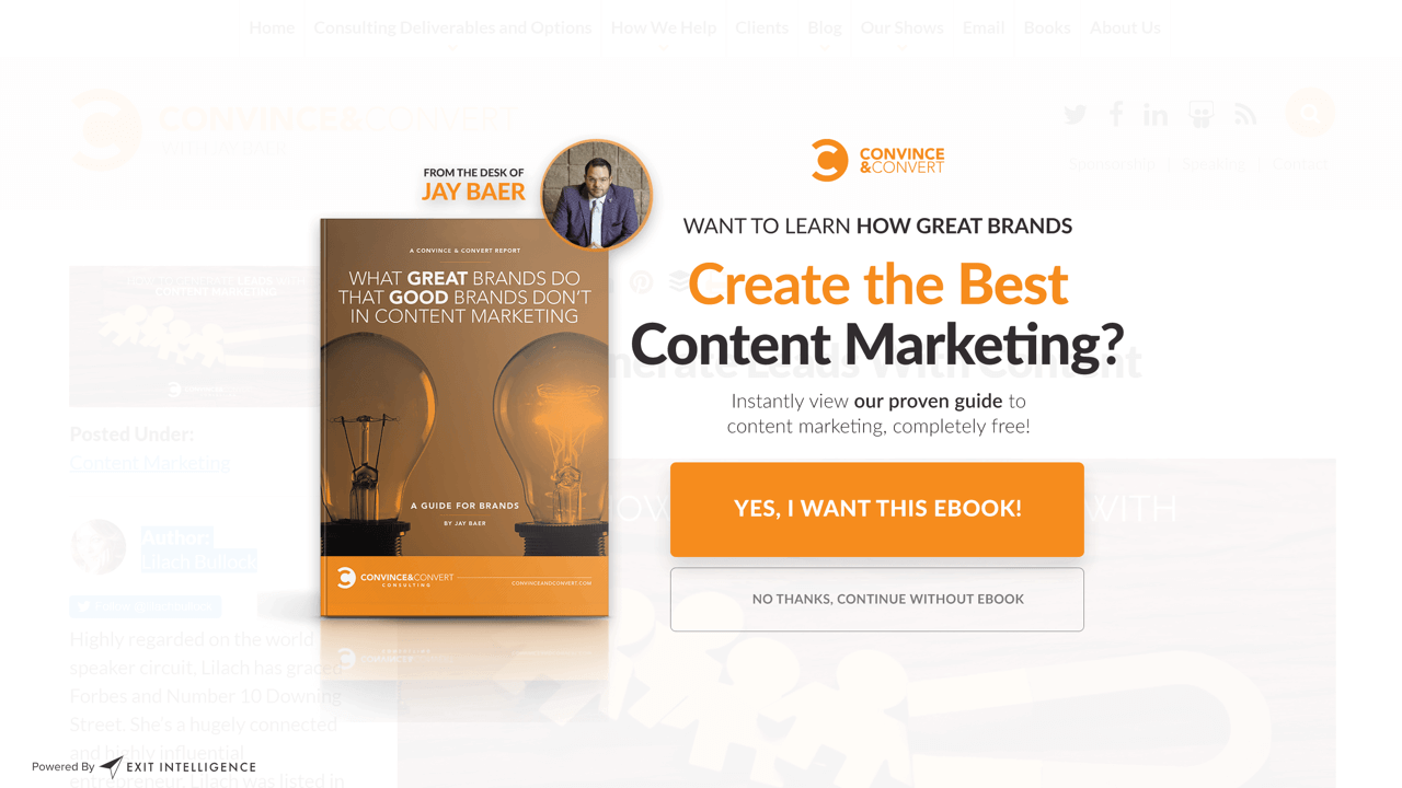 Large-size CTA button on a popup by Convince & Convert