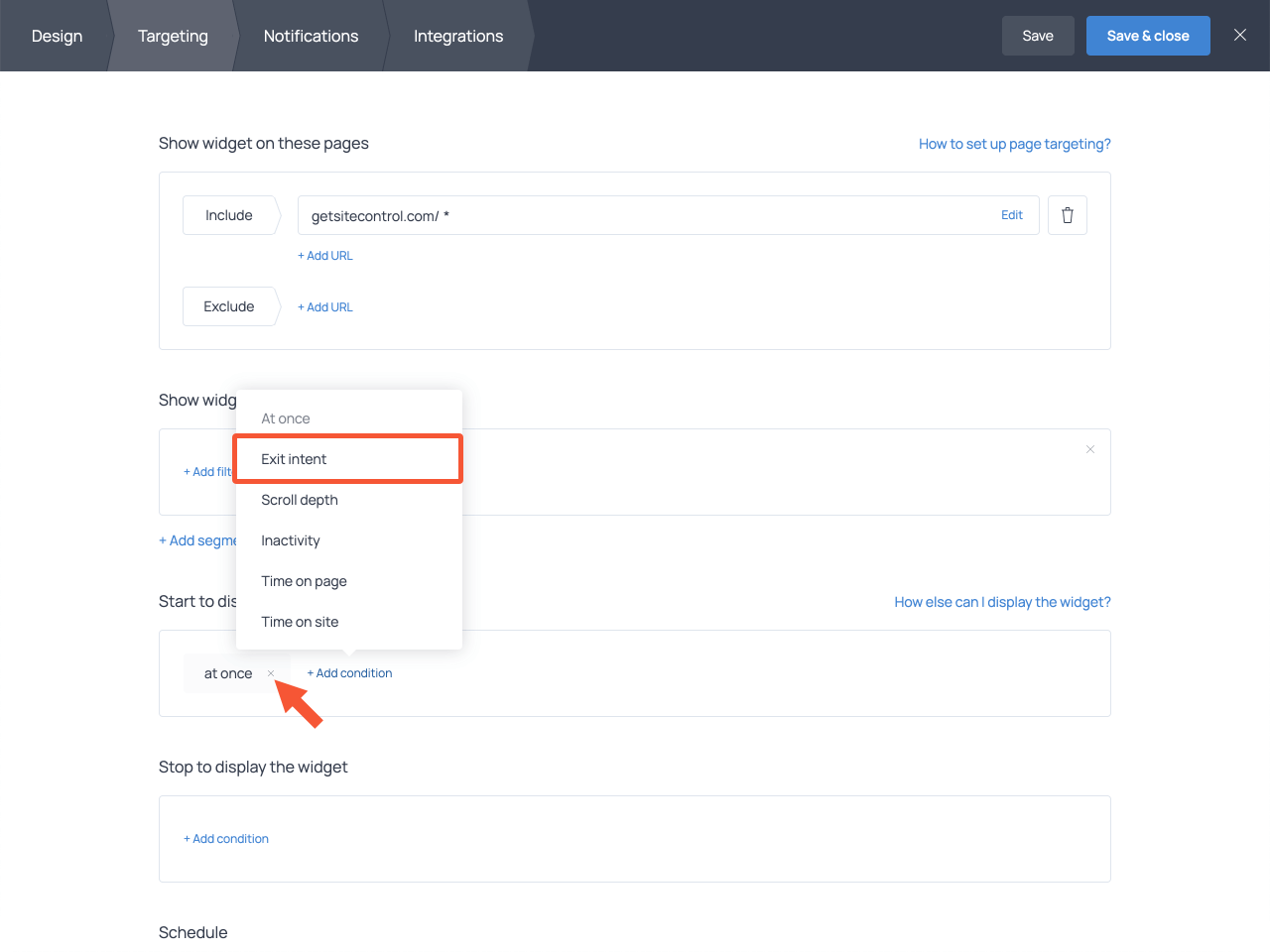 Getsitecontrol popup targeting settings