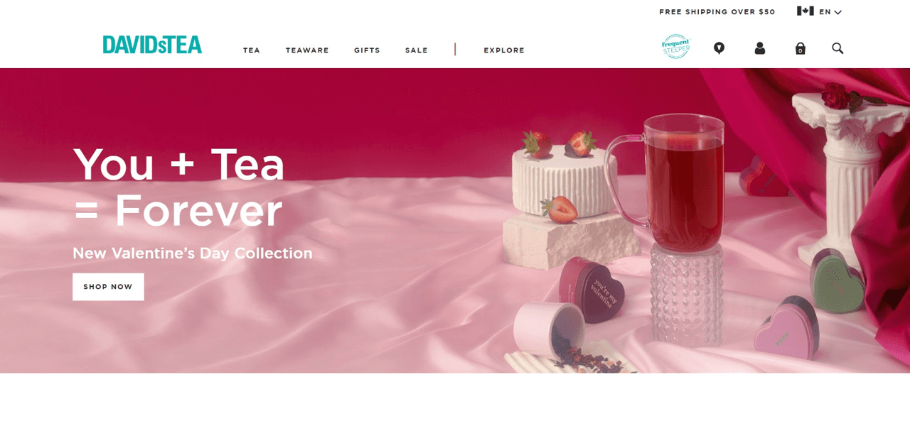 David's Tea uses the sense of urgency to sell the holiday tea collection