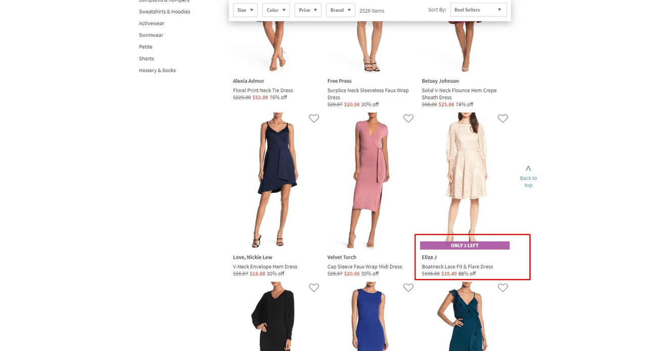 Nordstrom uses scarcity marketing by displaying the number of items left in stock