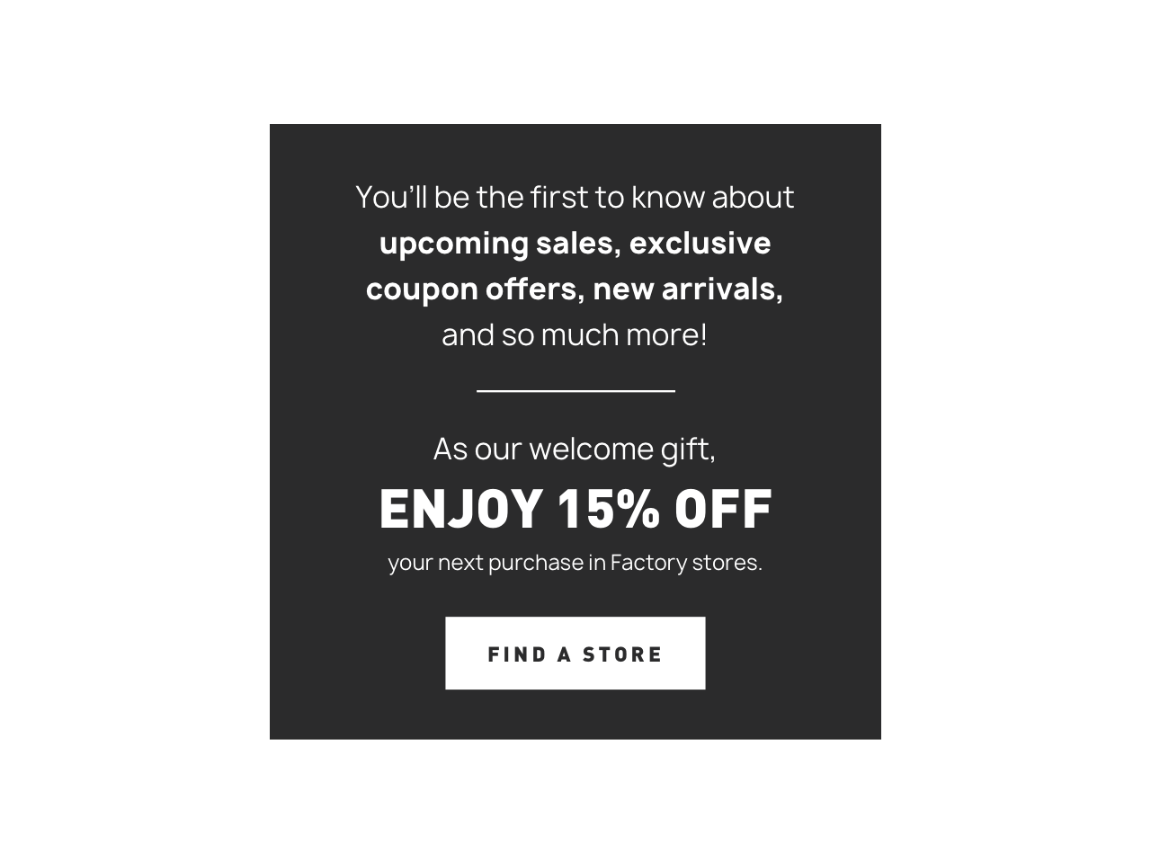 Welcome email from Banana Republic featuring exclusive offers