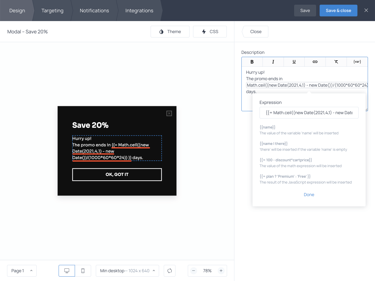 How to display the number of days left to the end of the promo using dynamic text on popups