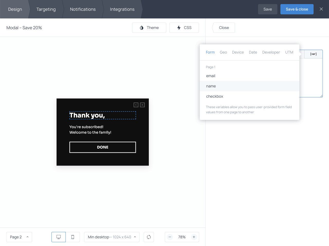 To display visitor's names on popups, you'll need to capture them first