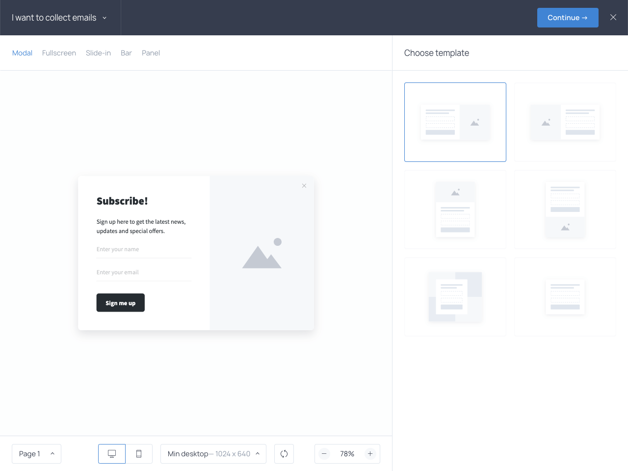 New Getsitecontrol dashboard: widget layout templates