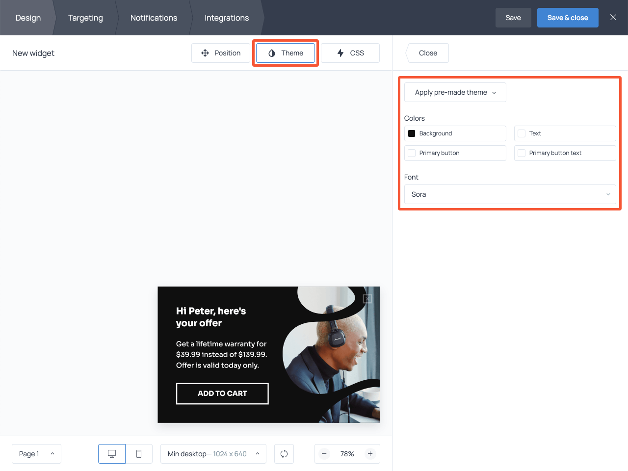How to use the Theme menu when editing a pre-designed popup in Getsitecontrol
