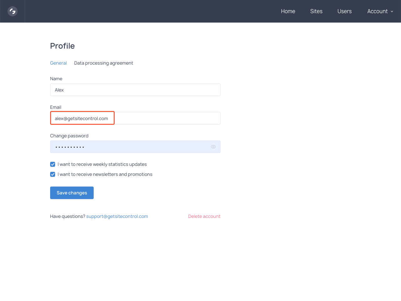 Adding a new email address in the Profile section