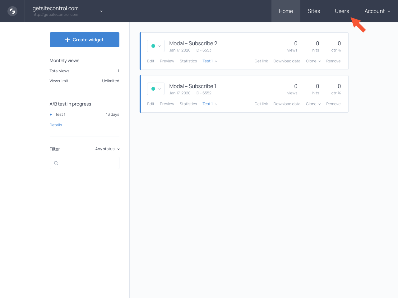 Getsitecontrol dashboard with the highlighted Users tab