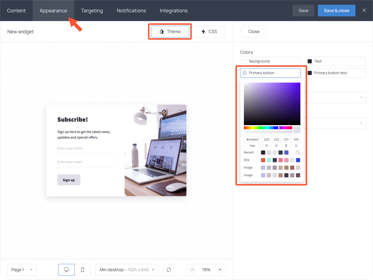 Changing the button color