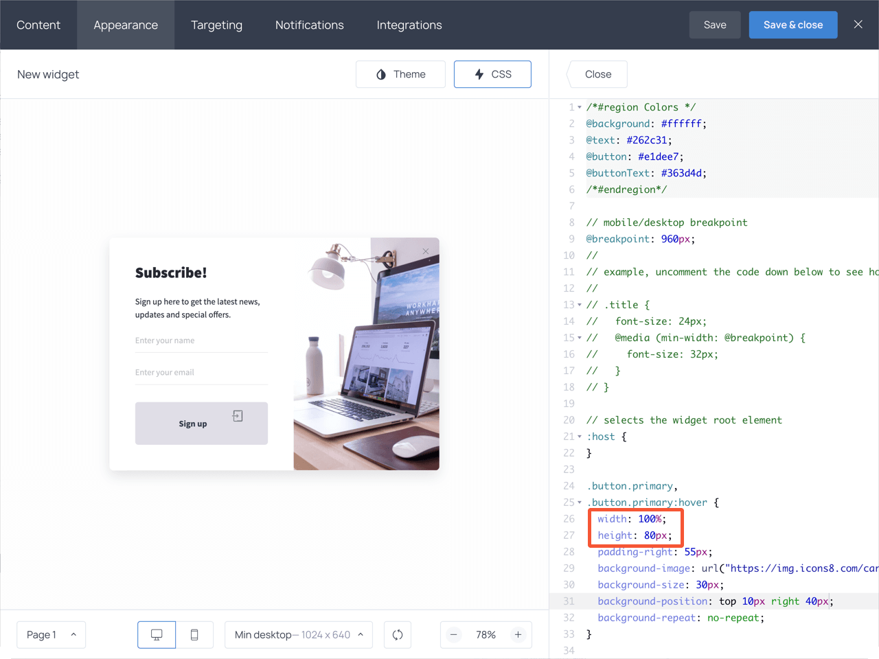 Changing the button width and height