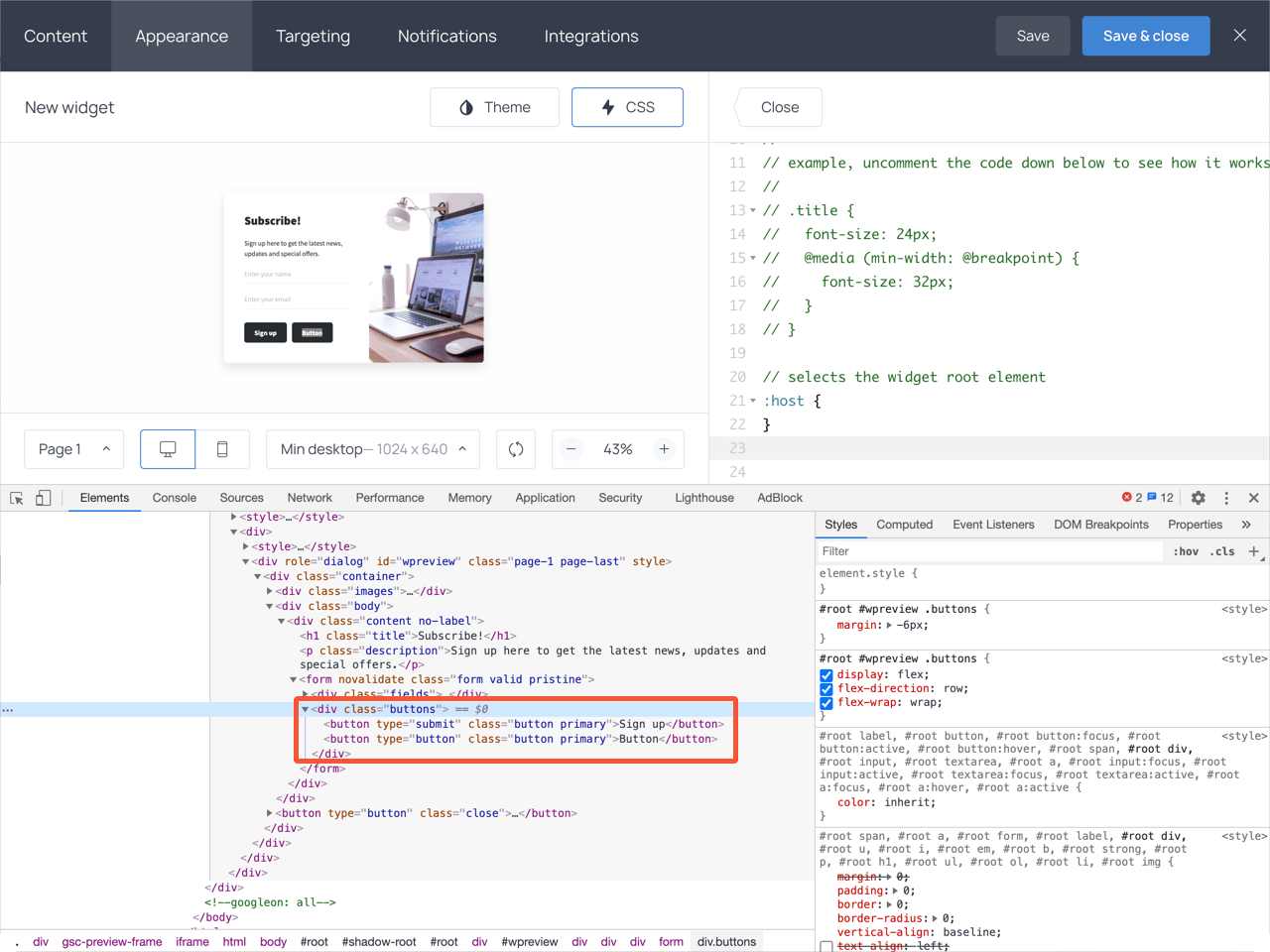 Inspecting buttons container in DevTools