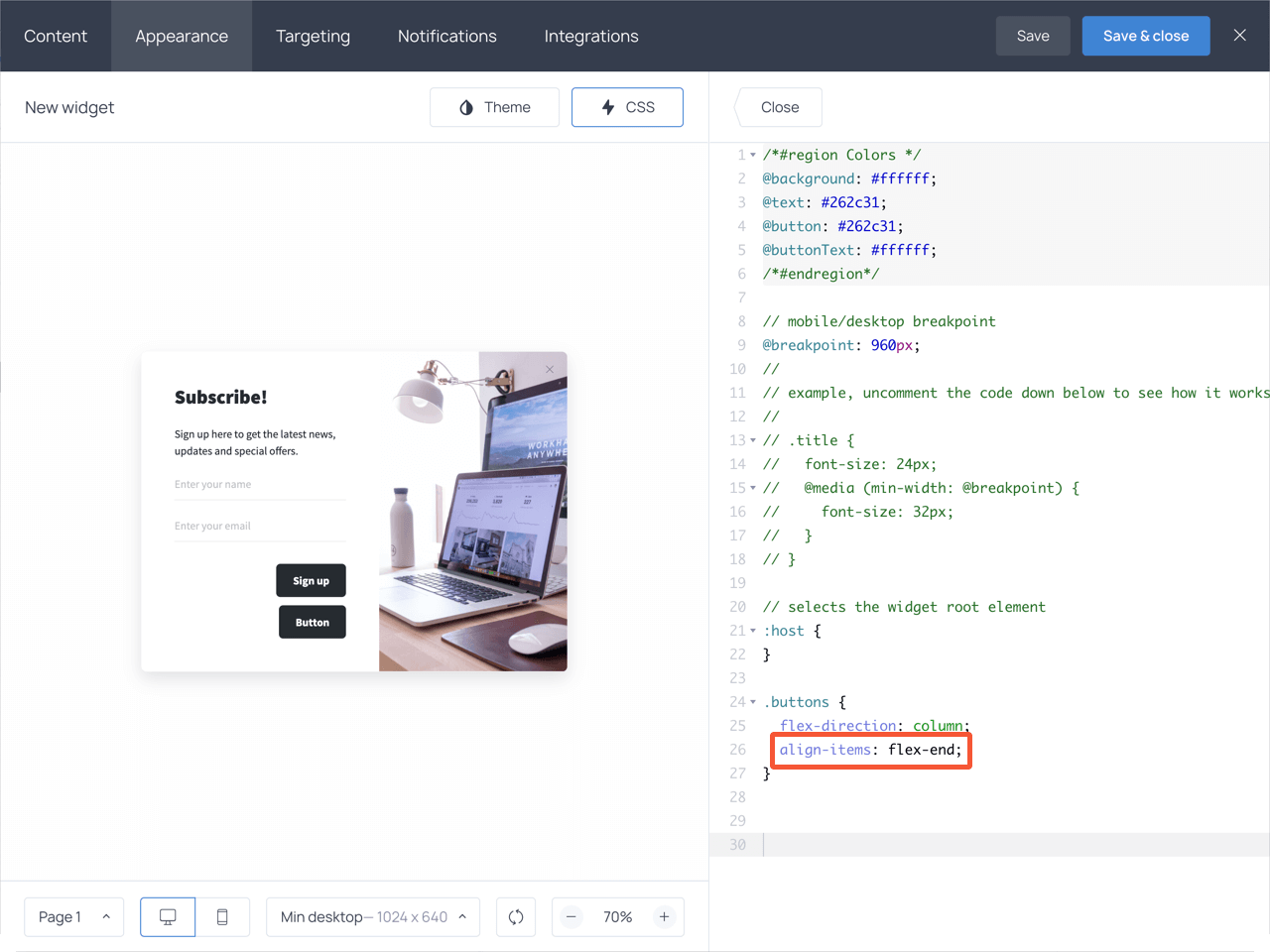 Align buttons to the right code