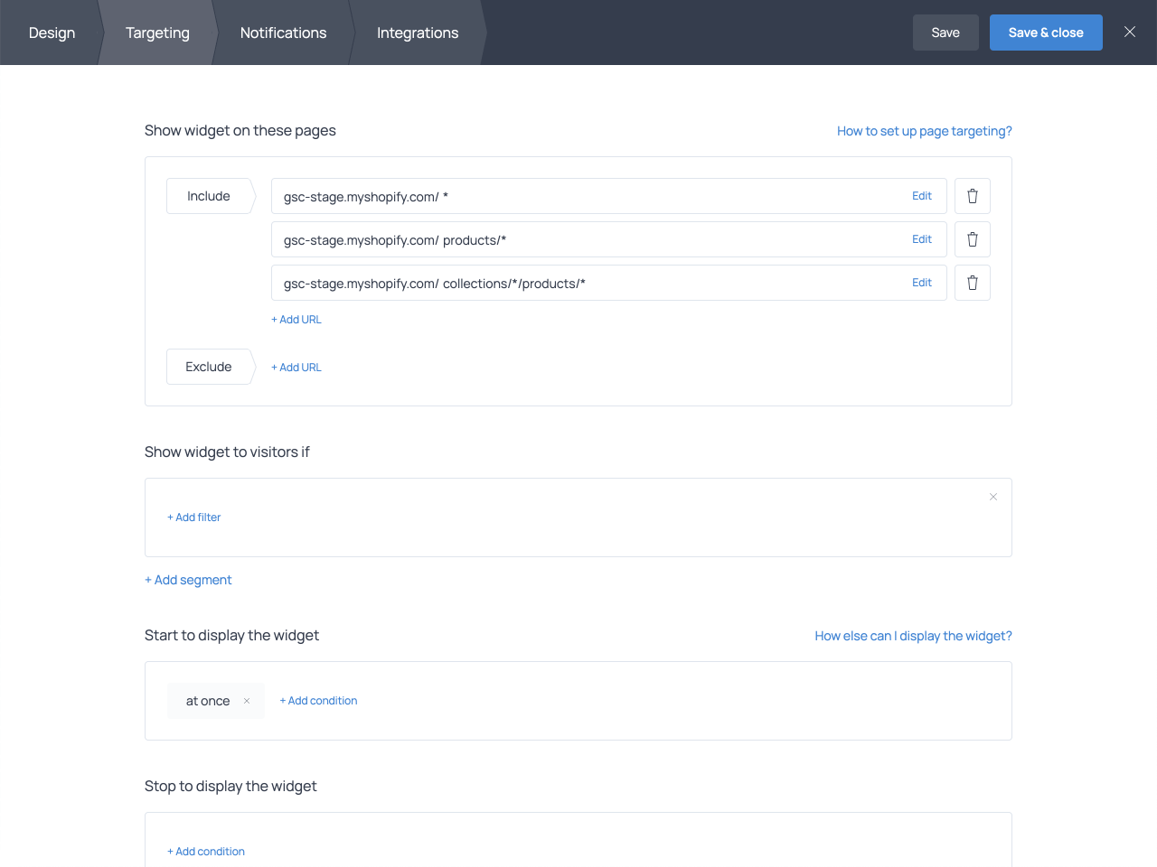 Product pages presets