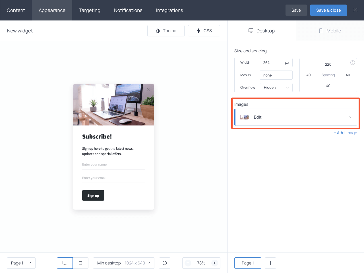 Edit image button on the Appearance tab