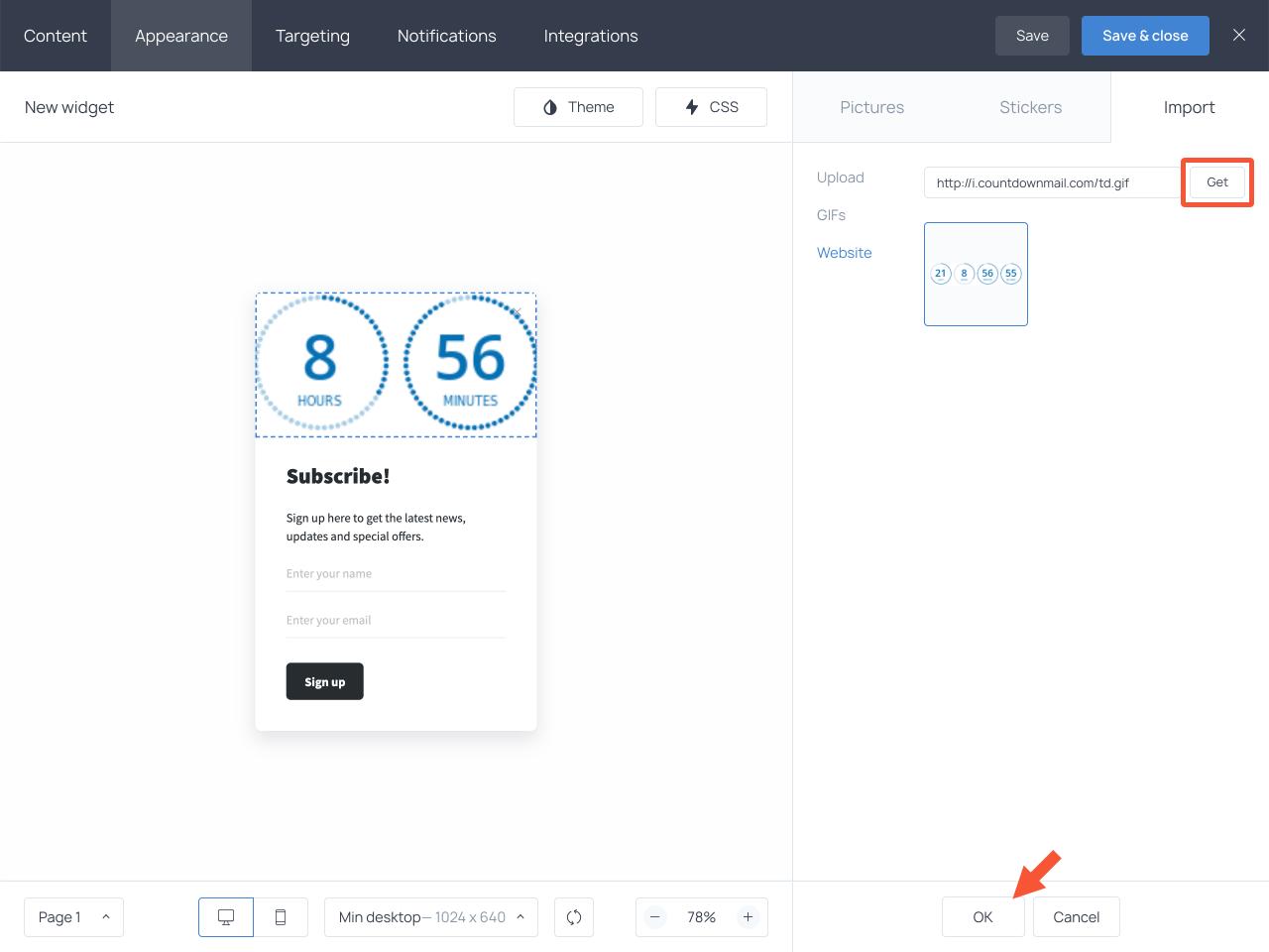 Choosing and saving the countdown image