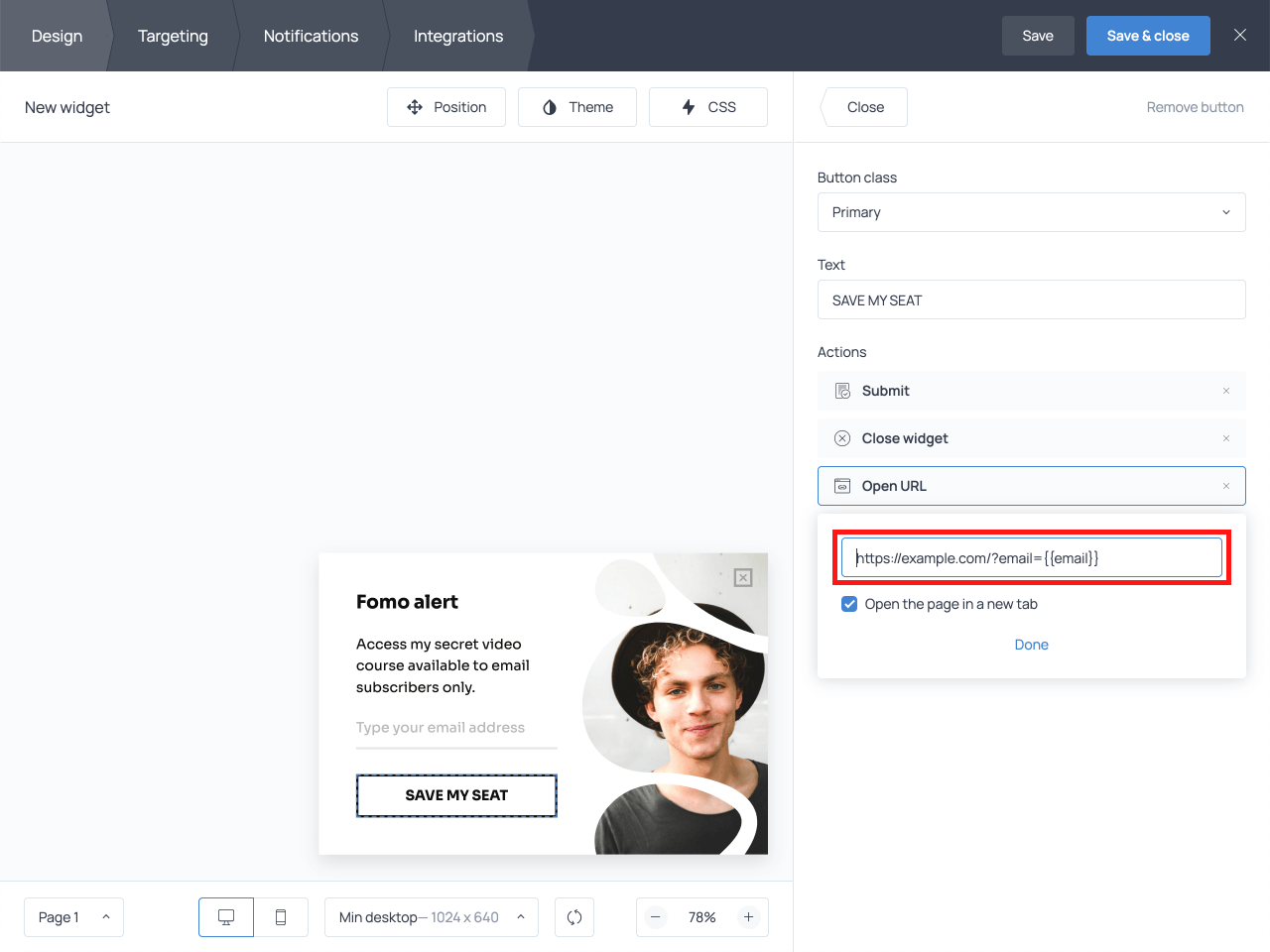 Email form field in the Open URL action