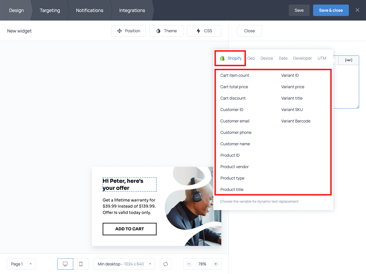 Shopify variables category