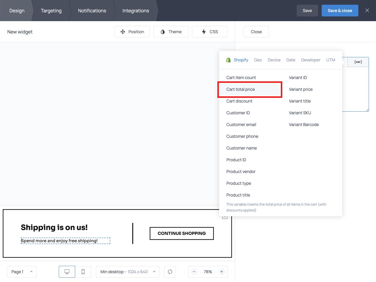 Cart total price option of the var tab