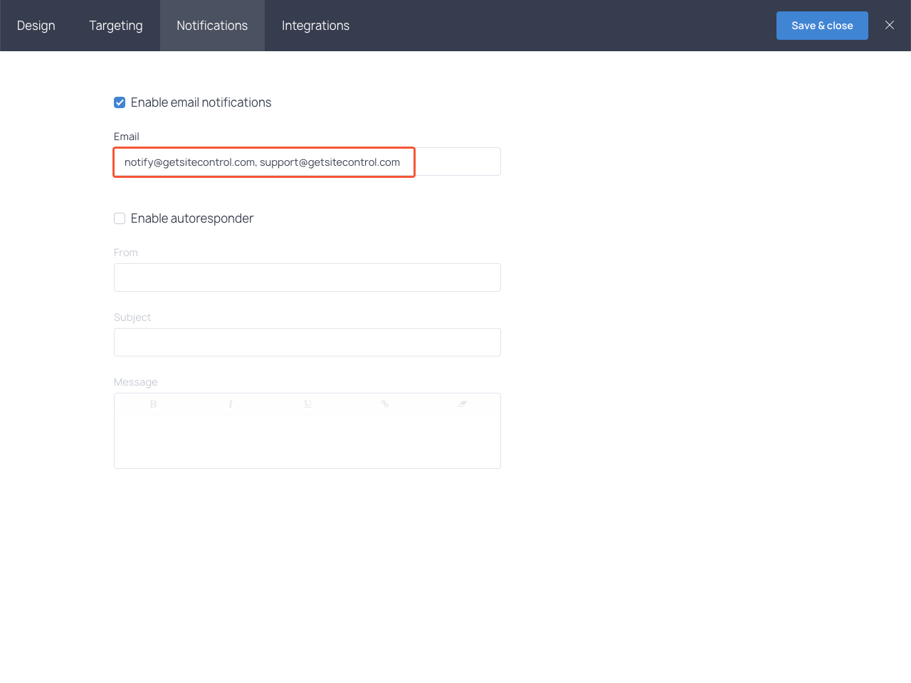 Adding two email addresses for notifications