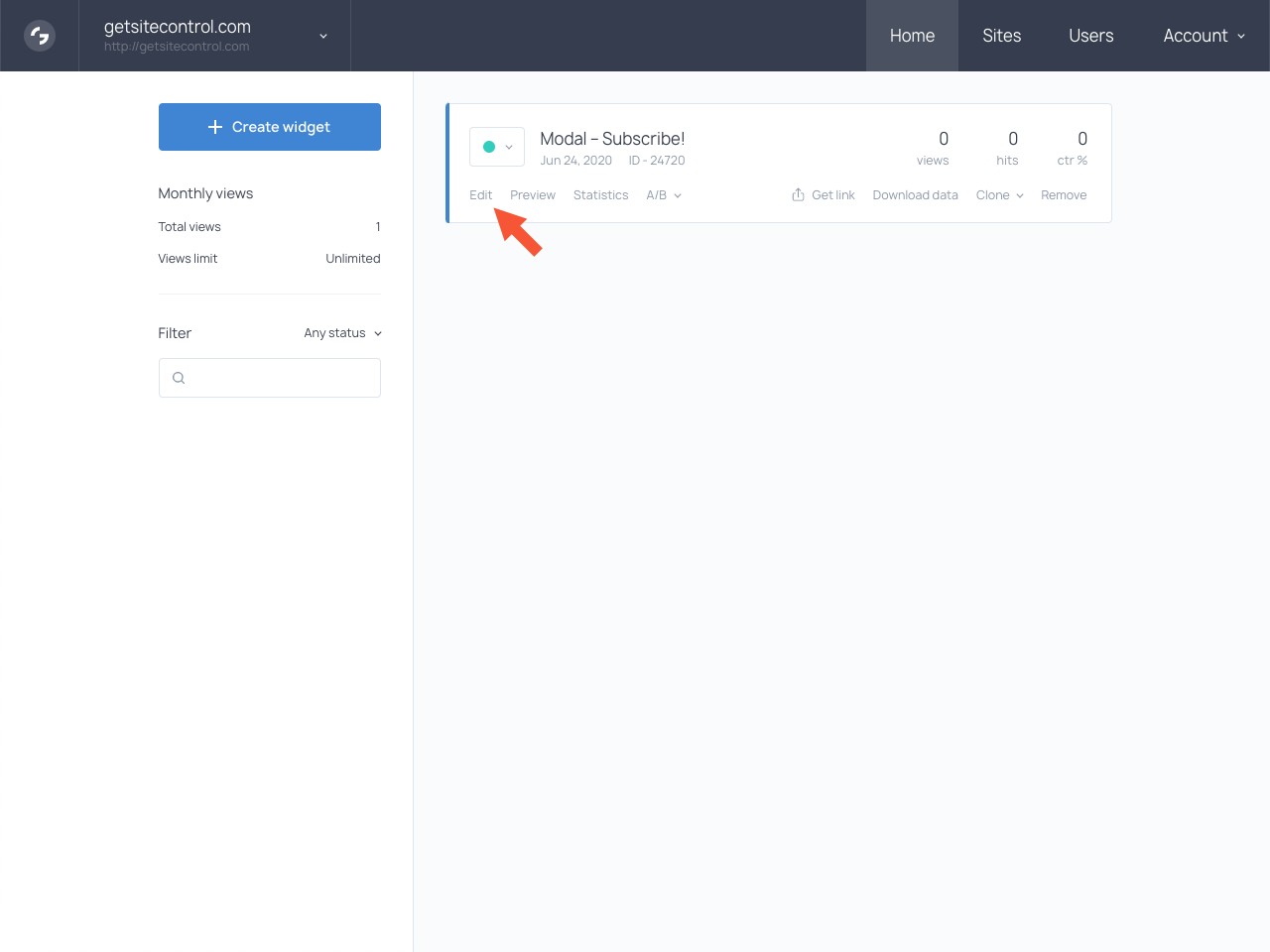 Getsitecontrol dashboard with the highlighted Edit button