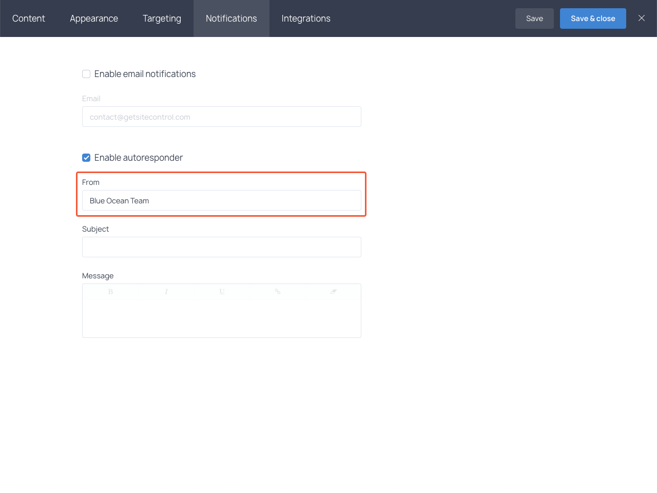 "Autoresponder ""from"" field in the Notifications section"
