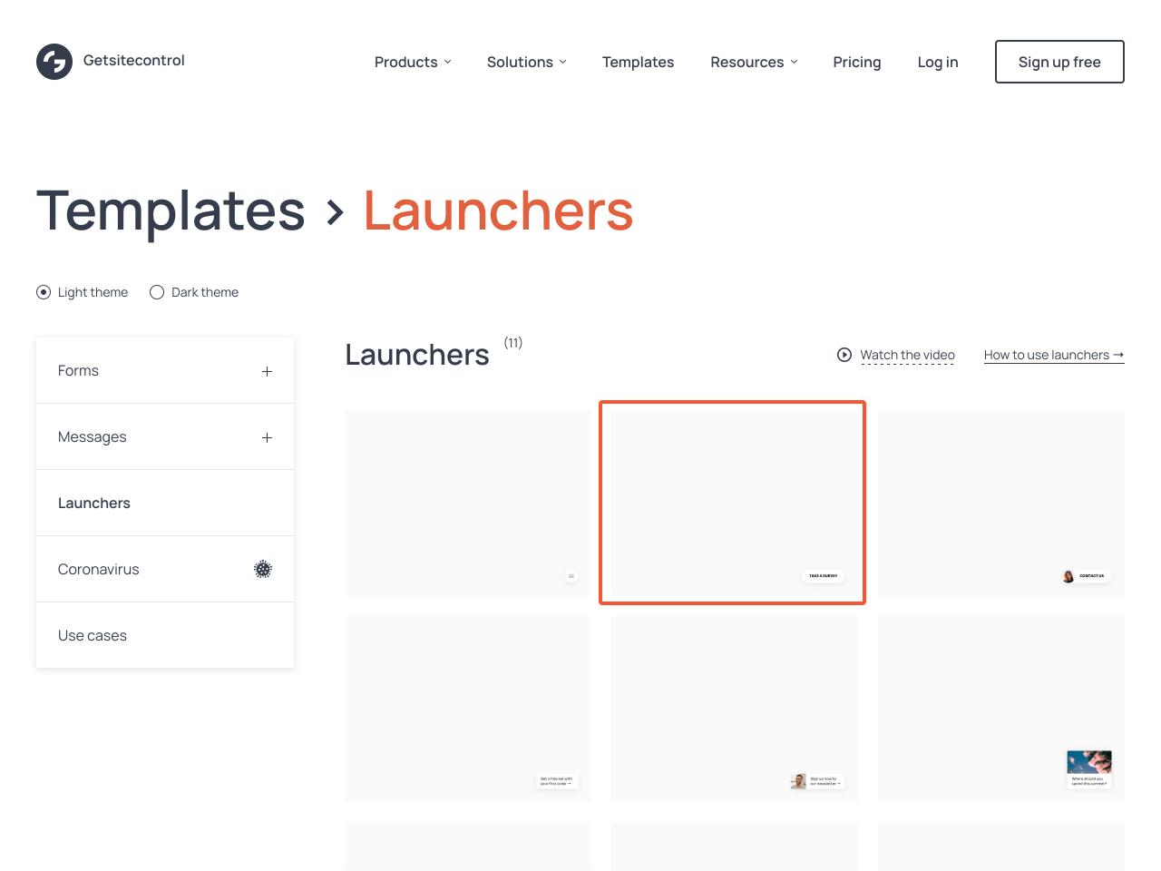 Launchers in Getsitecontrol templates gallery
