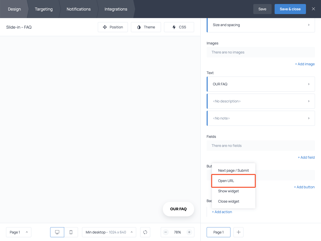 Adding an Open URL action in the Background click section